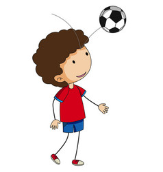 Little boy bouncing football on his head vector