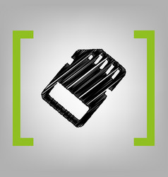Memory card sign black scribble icon in vector