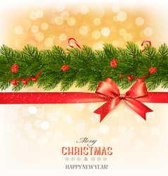 Merry christmas card with a ribbon and christmas vector