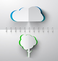 Paper Cut Cloud and Tree on Notebook Background vector image