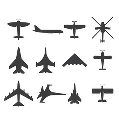 Planes icons set on white background vector
