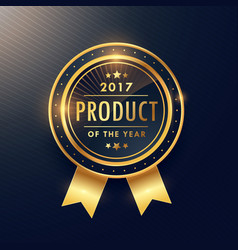 Product of the year golden label design vector