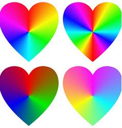 Rainbow gradient happy heart icon template set vector image vector image