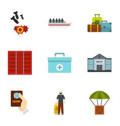 refugee icons set flat style vector image