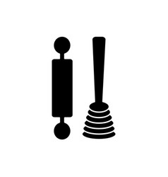 roller and whisk icon black vector image vector image