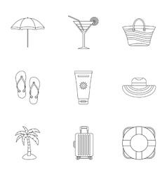 Sandy beach icons set outline style vector