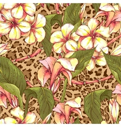 Seamless pattern with exotic flowers vector image