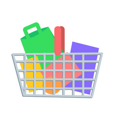 Shopping basket with goods flat icon vector