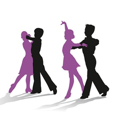 Silhouettes of kids dancing ballroom dance vector image vector image