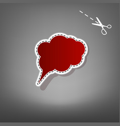 Speach bubble sign red icon vector
