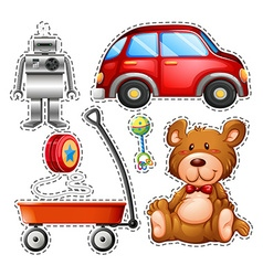 Sticker set of different toys vector image
