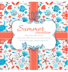 summer vacation vintage label with ribbon vector image