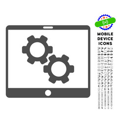 Tablet settings gears icon with set vector