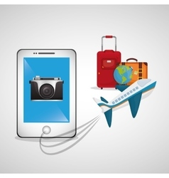Travel smartphone plane camera photo globe luggage vector