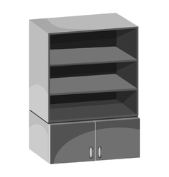 Wardrobe with shelves icon gray monochrome style vector