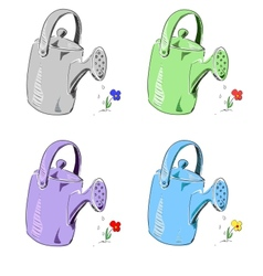 Watering can in different colors set vector image vector image