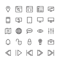 Web and user interface outline icons 7 vector