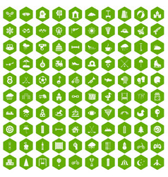 100 kids games icons hexagon green vector