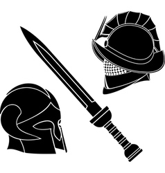 gladiators helmets and sword vector image