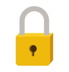 Padlock with yellow body and shackle vector
