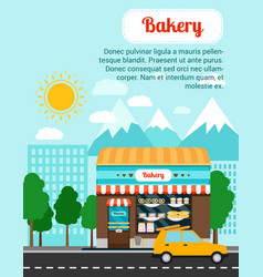 Bakery advertising banner with shop building vector