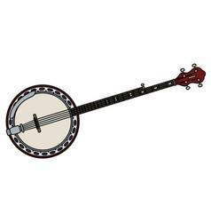 Red five string banjo vector