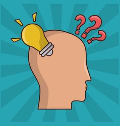 cartoon human head lightbulb idea question vector image