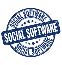 Social software blue grunge stamp vector