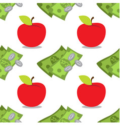 Money and apple seamless pattern on a white vector