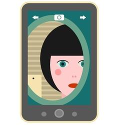 Girl making photo of herself via mobile phone vector image