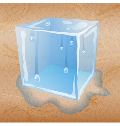 Abstract sand background with ice cube vector