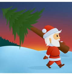 Santa carry pine vector
