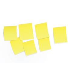 Yellow sticky notes on white background vector