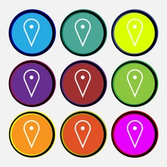 Map poiner icon sign nine multi colored round vector