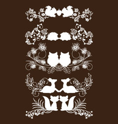 Animals of fall lace borders collection vector