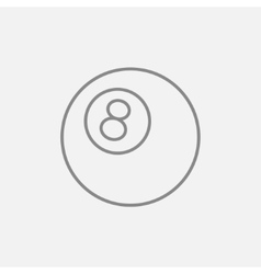 Billiard ball line icon vector