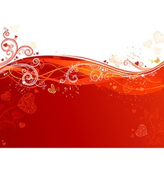 Red and white waves Valentines background vector image