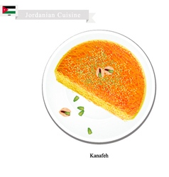 Kanafeh or jordanian cheese pastry with syrup vector