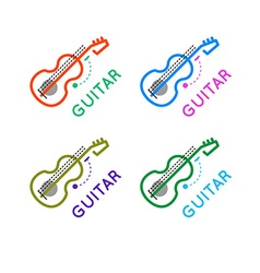 Guitar music shop logo guitar lessons icon outline vector