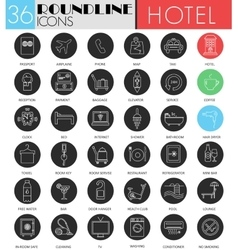 Hotel service circle white black icon set vector image