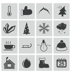 black winter icons set vector image vector image