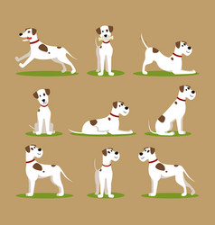 cartoon color funny puppy icons set vector image