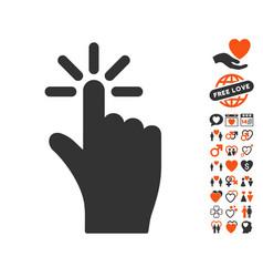 click icon with love bonus vector image