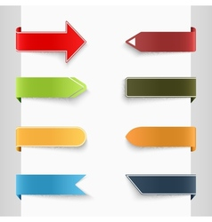 Color set of bent paper tags vector image