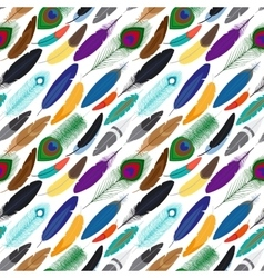 colorful feathers seamless background vector image