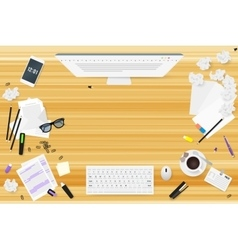 Copywriter work desktop top view with wooden vector