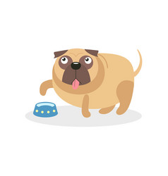 cute pug dog character and empty bowl pet dog vector image