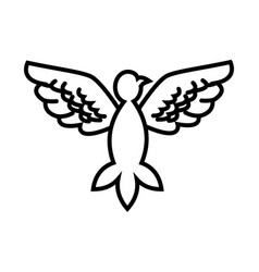 Dove peace flying wings symbol outline vector