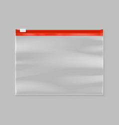 empty transparent plastic zipper slider bag vector image vector image