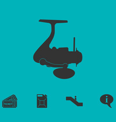 Fishing reel icon flat vector